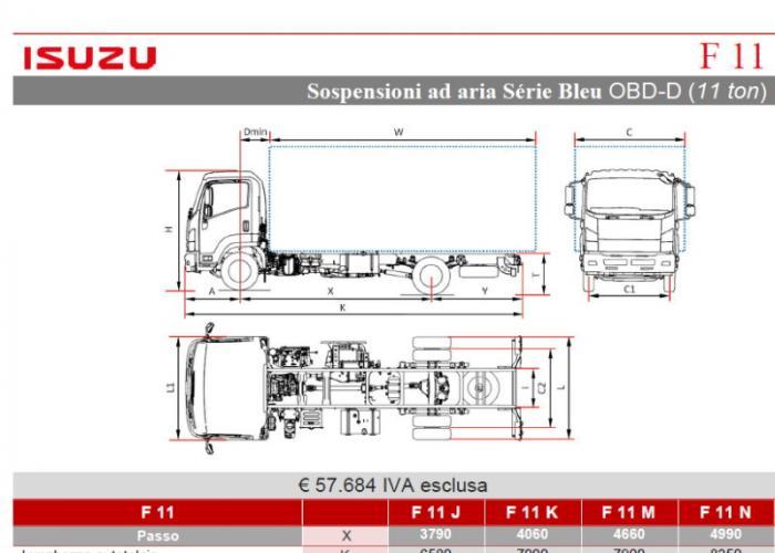 Listino Isuzu F11 Aria OBD-D