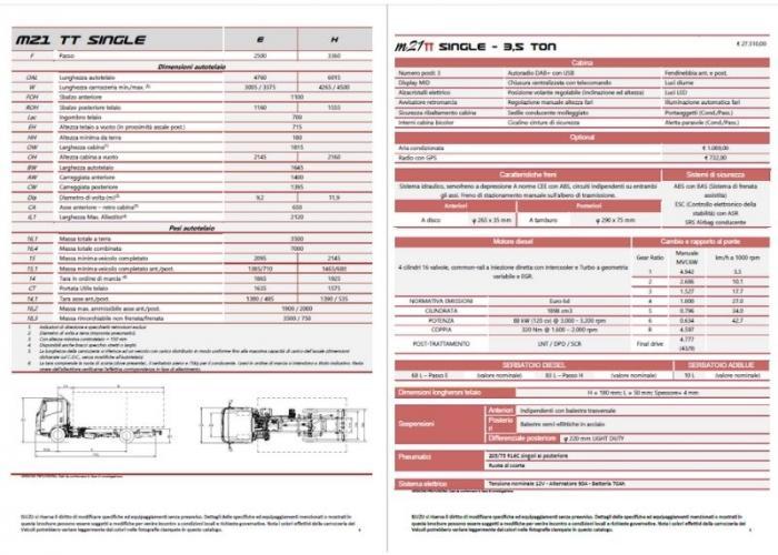 Listino Isuzu M21 TT SINGLE